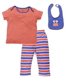 Babyhug T-Shirt Striped Pajama And Bib Set - Light Orange And Blue