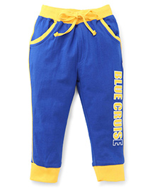 Olio Kids Track Pant Blue Cruise Print - Royal Blue And Yellow