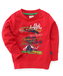 Olio Kids Sweatshirt Helicopter Print - Red