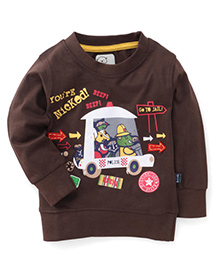 Olio Kids Full Sleeves Sweatshirt Printed - Brown
