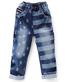 Olio Kids Star Print Jeans - Dark Blue