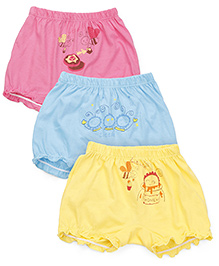 Simply Bloomers Multi Print Pack Of 3 - Pink Blue Yellow