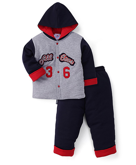 Child World Winter Wear Hooded Shirt And Leggings - Grey Navy