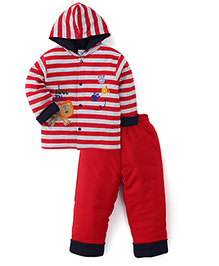 Child World Winter Wear Stripes Hooded Shirt And Leggings - Red