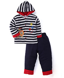 Child World Winter Wear Stripes Hooded Shirt And Leggings - Navy