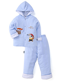 Child World  Winter Wear Hooded Shirt And Leggings - Blue