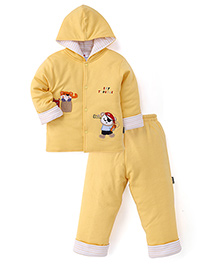 Child World  Winter Wear Hooded Shirt And Leggings - Yellow