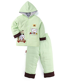 Child World  Winter Wear Hooded Shirt And Leggings - Green