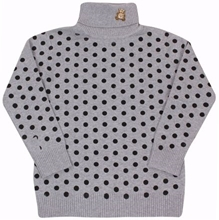 Polka Dots Print High Neck Sweater