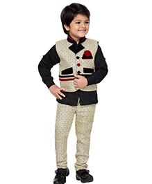 AJ Dezines Full Sleeves Shirt Waistcoat & Pant Set - Black Beige