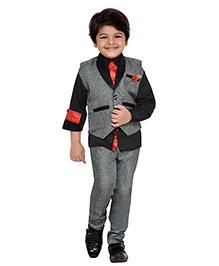 AJ Dezines 3 Pieces Party Wear Suit Set With Tie - Grey