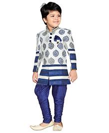 AJ Dezines Full Sleevves Sherwani Kurta And Jodhpuri Breeches - Blue White