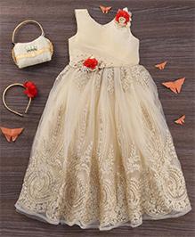 M'Princess Floral Applique Dress - Off White