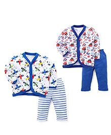 Pirates Printed Sets Of 2 Vests & Pyjamas  - Royal Blue & White