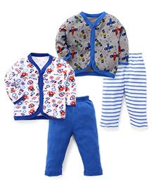 Pirates Printed Sets Of 2 Vests & Pyjamas  - Royal Blue & Grey