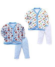 Dinosaurs Printed Sets Of 2 Vests & Pyjamas - Sky Blue