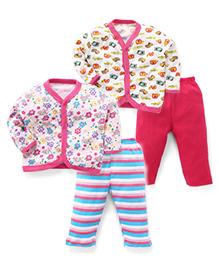 Animal & Flower Printed Sets Of 2 Vests & Pyjamas - Pink & White