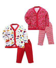 Animal Kingdom Sets Of 2 Vests & Pyjamas  - Pink Red & White