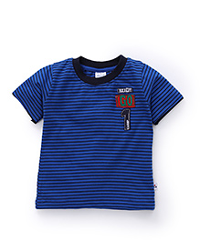 Simply Half Sleeves Striped T-Shirt Ready Go Patch - Blue
