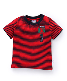 Simply Half Sleeves Striped T-Shirt Ready Go Patch - Red