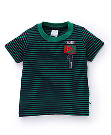 Simply Half Sleeves Striped T-Shirt Ready Go Patch - Green