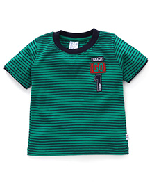 Simply Half Sleeves Striped T-Shirt Ready Go Patch - Green & Navy