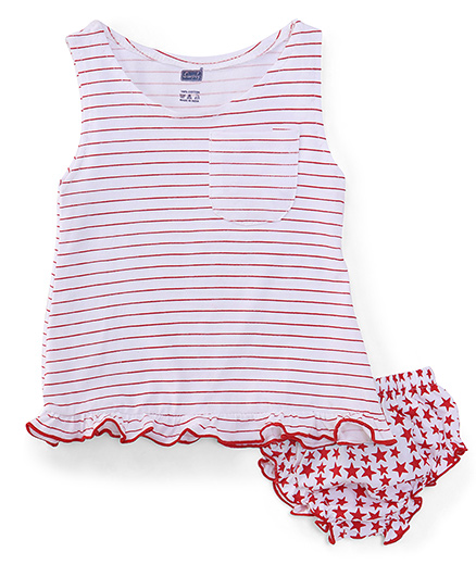 Simply Sleeveless Frock With Bloomers Stripes And Stars print - Red