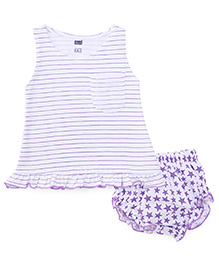 Simply Sleeveless Frock With Bloomers Stripes And Stars print - Purple