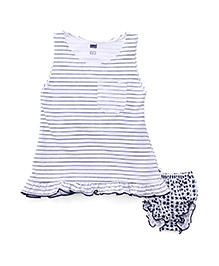 Simply Sleeveless Frock With Bloomers Stripes And Stars print - Blue