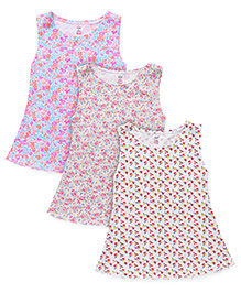 Simply Sleeveless Frocks Floral Print Pack Of 3 - White