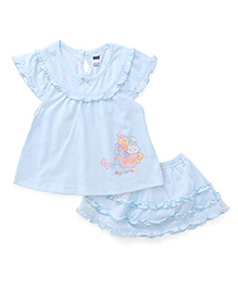 Simply Cap Sleeves Skirt And Top Set Bunny Print - Blue