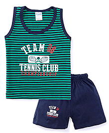 Simply Sleeveless T-Shirt And Shorts Set - Green And Blue