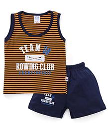 Simply Sleeveless T-Shirt And Shorts Set - Orange