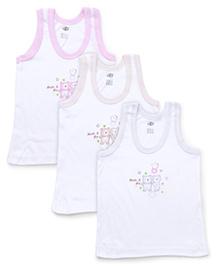 Zero Sleeveless Vest Teddy Print Pack Of 3 - Pink Blue Yellow