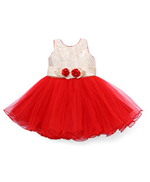 Bluebell Sleeveless Party Frock Floral Applique - Red And Cream