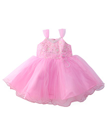 Bluebell Sleeveless Frock With Flower Applique - Pink