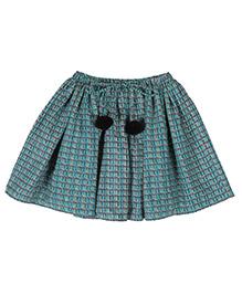 Teeny Tantrums Geometric Print Skirt - Green
