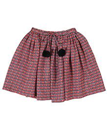 Teeny Tantrums Geometric Print Skirt - Orange