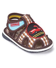 Cute Walk By Babyhug Sandals Car Applique - Brown