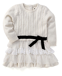 Yellow Apple Full Sleeves Woollen Dress Frilled Pattern - Off White