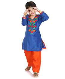 Little Pockets Store Floral Embroidered Velvet Kurti With Pant - Blue & Orange