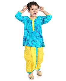 Little Pockets Store Dhoti Kurta Set - Blue & Yellow