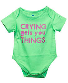 Blue Bus Store Crying Gets You Things Print Onesie - Green