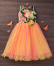 M'Princess Princess Gown With Flower Detailing - Orange