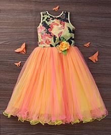 M'Princess Princess Gown With Flower Detailing - Orange