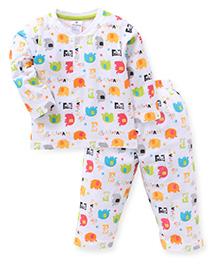 Ollypop Full Sleeves Night Suit Elephant Print - White