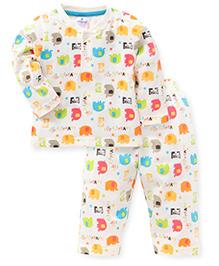 Ollypop Full Sleeves Night Suit Elephant Print - Cream