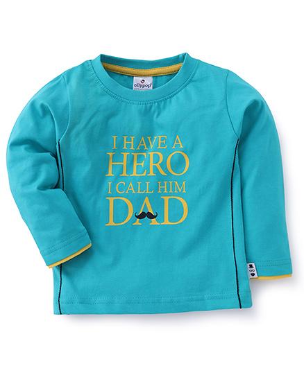 Ollypop Full Sleeves T-Shirt Hero Dad Print - Aqua