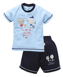 Teddy Half Sleeves T-Shirt And Shorts Set Embroidery & Print - Sky Blue