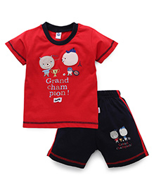 Teddy Half Sleeves T-Shirt And Shorts Set Embroidery & Print - Red
